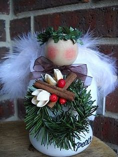 crafts christmas angel...I think she's sweet, but maybe use grapevine or something for the wings????