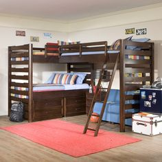 triple loft bed! great use of space and lots of storage options too! Awesome for sleepovers until there are siblings :)