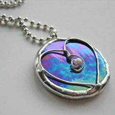 Purple Heart Stained Glass Pendant Necklace