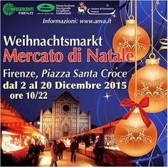 Weihnachtsmarkt – German Christmas market, Dec. 2-20,   10 a.m.-10 p.m., in Florence, in Piazza Santa Croce.