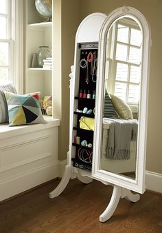Classic Oval White Sliding Mirror Standing Jewelry Armoire