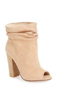 Love this slouchy peep toe bootie