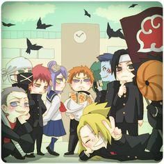 The high school Akatsuki Naruto Shippuden Sasuke, Anime Naruto, Naruto Kakashi, Naruto Akatsuki Funny, Comic Naruto, Neji E Tenten, Naruto Fan Art, Naruto Cute, Otaku Anime