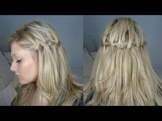 I love this girl's half up waterfall braid hairdo! Waterfall French Braid, Waterfall Braid Tutorial, Waterfall Braids, Waterfall Twist, Side Braid Hairstyles, My Hairstyle, Pretty Hairstyles, Locks, Braiding Your Own Hair