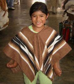 Brauner #peruanischer #Kinder #Poncho #Alpakawolle