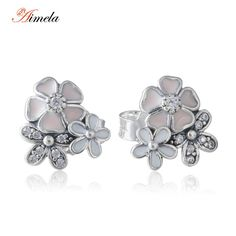 Pink and White Enamel Flower Stud Earrings For Women 2016 Spring New Fashion 925-Sterling-Silver Poetic Blooms Earrings Studs