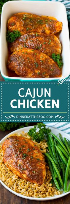 Cajun chicken is coated in butter and spices, then baked to tender and juicy perfection. Cajun chicken is coated in butter and spices, then baked to tender and juicy perfection. Healthy Chicken Recipes, Turkey Recipes, Dinner Recipes, Cooking Recipes, Cajun Recipes, Haitian Recipes, Cajun Food, Louisiana Recipes, Duck Recipes