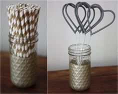 I really like those sparklers! How To: DIY Dipped Gold Jar Vases Easy Diy Projects, Craft Projects, Gold Mason Jars, Black White Parties, 50th Wedding Anniversary, Till Death, Diy Wedding, Wedding Ideas, Sparklers