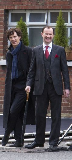 This is brilliant because they may be dressed as Sherlock and Mycroft but that is clearly Ben and Mark