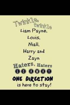 twinkle twinkle Liam Payne Louis Niall Harry and Zayn haters haters go away One Direction is here to stay