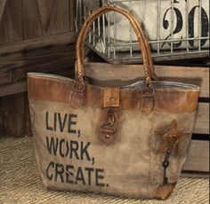 Faux leather tote bags feature quality hardware, distressed stamping, frayed fabric edging and vintage tones. Canvas Leather, Leather Bag, Soft Leather, Waxed Canvas, My Bags, Purses And Bags, Ethno Style, Do It Yourself Fashion, Create Canvas