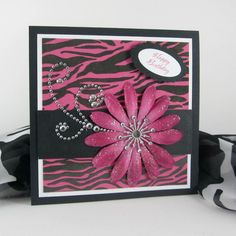 Zebra print card handmade birthday card  by BellaCardCreations