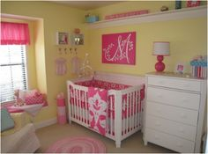 Wander through our fun yellow baby room. Get more decorating ideas at http://www.CreativeBabyBedding.com