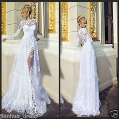 2016 New Sexy White/Ivory Lace Wedding Dress Bridal Gown Size 6 8 10 12 14 16++