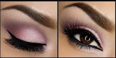 Pale pink on the lids and purple on the crease