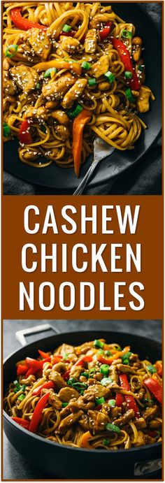 cashew chicken noodles, spicy, sauce, thai, recipe, easy, cashew crusted, healthy, asian, dinner, simple, fast, stir fry via /savory_tooth/