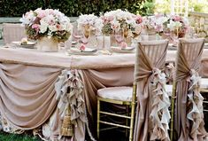 26 ideas vintage wedding table decorations draping for 2019 Wedding Table Decorations, Wedding Table Settings, Wedding Chairs, Decoration Table, Vintage Decorations, Outdoor Decorations, Wedding Tables, Wedding Centerpieces, Wedding Cake