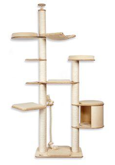 Modell Adrian  Deckenhoher Katzenkratzbaum mit waschbaren Klettkissen aus Baumwolle. Viel Katzenspaß mit tollen Liegeebenen !
