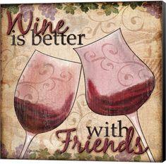 Wine With Friends Ii by Jen Killeen Canvas Art - Multi