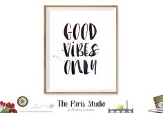 Good Vibes Only Printable Quote minimalist wall art intsant download