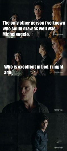 "#Shadowhunters 1x04 ""Raising Hell"" Jace is like *tf, I didn't want to know that, Tmi Magnus.*"