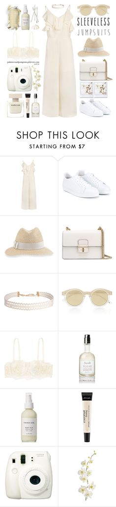 """All-in-One: Sleeveless Jumpsuits"" by palmtreesandpompoms ❤ liked on Polyvore featuring Sophia Webster, Inverni, Dolce&Gabbana, Humble Chic, Le Specs, La Perla, Fresh, French Girl, philosophy and Fuji"