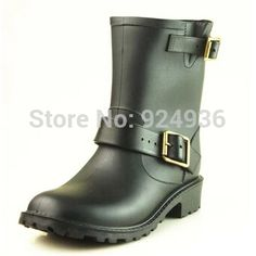 (39.15$)  Watch more here - http://aibnt.worlditems.win/all/product.php?id=1975271348 - Women Rain Boots Fashion Tainboots Low Heels Waterproof Women Wellies Rain Boot Woman Non-slip Shoes Buckle Ankle Boots