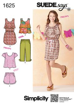 Simplicity 1625 Girls' & Girls' Plus Separates sewing pattern