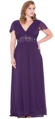 Meier Women's Plus Size Short Sleeve Chiffon Gown (Plus S...