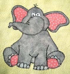 (7) Name: 'Quilting : Elephant Applique Block