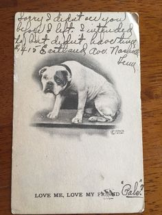 Romantic Love Bulldog Postcard 1911