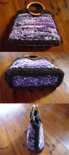 Purse in violet-brown combination with round wooden handles