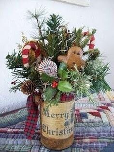 Christmas DIY: Paint a can place greenery, cookie cutters, candy canes, or ornaments in it. Christmas Gingerbread, Primitive Christmas, Country Christmas, Winter Christmas, Christmas Time, Vintage Christmas, Christmas Kitchen, Elegant Christmas, Merry Christmas