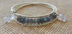 Labradorite and Crystal Quartz Memory Wire Bracelet