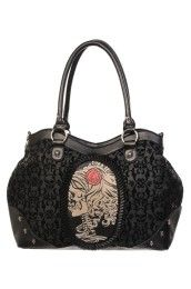 The Violet Vixen offers gotta-have Steampunk Purses & Bags. Fun designs make our corset accessories perfect for many styles: Steampunk, Rockabilly, Goth & more. Black Handbags, Purses And Handbags, Tote Handbags, Women Skeleton, Skull Purse, Black Skulls, Black Goth, Cute Purses, Bling Purses
