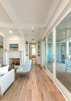 living room with patio sliding doors | Mahshie Custom Homes