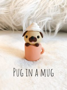 Polymer clay pug Frappuccino - Polymer clay pug Frappuccino - During the period of her five-decade employment, artist Viola Frey produced an extraordinary physique on the job, which include works of art, blueprints, along with sculptures. Polymer Clay Kawaii, Fimo Clay, Polymer Clay Projects, Polymer Clay Charms, Polymer Clay Art, Polymer Clay Jewelry, Clay Earrings, Polymer Clay Figures, Polymer Clay Animals
