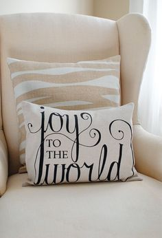 Joy to the World 12x16 Pillow Cover in Black