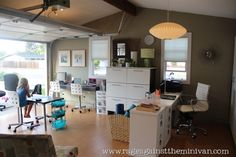 Garage turned office space and playroom
