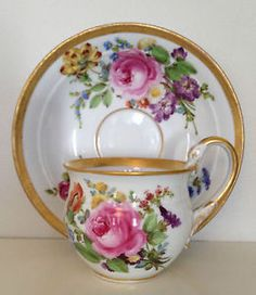RARE 19th C. Meissen Porcelain Gold Gilded Rose Cup & Saucer with Swan Handle