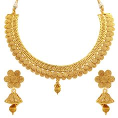 Fabulous Jalebi Gold Plated Necklace Set For Women at Mirraw