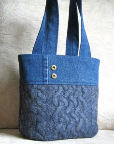 Blue Wool and Denim Tote Eco Friendly Upcycled by FeltSewGood