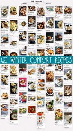65 FABULOUS Winter Comfort Food Recipes. I've read through many of these & pinned individually. Yummy!
