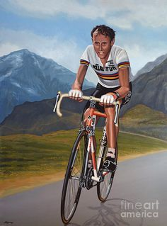 Realistic acrylic painting of the retired professional racing cyclist from the Netherlands Joop Zoetemelk - The Original painting is painted by the Dutch fine artist paul Meijering, is 120 x 90 cm and for sale. Sports Painting, Vintage Cycles, Bicycle Race, Cycling Art, Bike Art, World Of Sports, Grand Tour, Retro, Racing