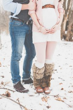 Outdoor Winter Maternity Photos - On to Baby
