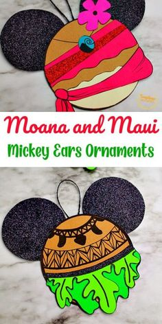 Try out this Moana Mickey Ears Disney Ornament Craft from Sunshine Whispers! This ornament craft is perfect for little Disney-lovers. Your kids will love hanging this creative ornament on the Christmas tree! | Disney Crafts for Kids #christmas #ornament #christmasornament #diyornaments #disneycrafts #disney