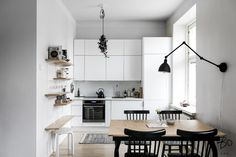 Interior and architectural photography by Mikael Pettersson Small Apartment Kitchen, Living Room Kitchen, Living Room Interior, Kitchen Interior, Kitchen Decor, Küchen Design, Interior Design, Beige Room, Minimalist Kitchen