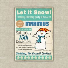 Sledding birthday party invitation kids children. $37.50, via Etsy.