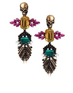 Ingrandisci ASOS - Orecchini pendenti con gioielli e teschi