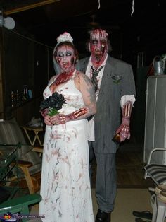 Zombie Bride and Groom Costume Wow I will be that scary. Great make-up!